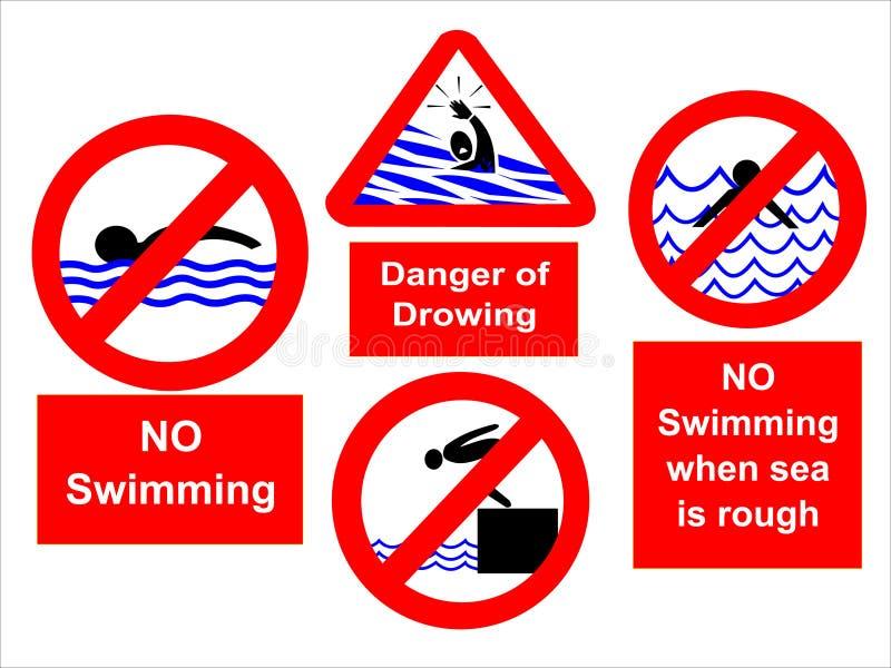 inget simma för tecken vektor illustrationer