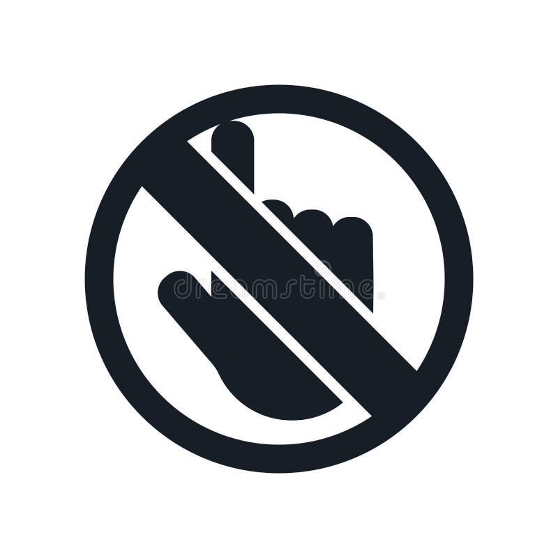 Inget skjut symbolsvektortecknet, och symbolet som isoleras på vit bakgrund som är ingen skjuter logobegrepp stock illustrationer