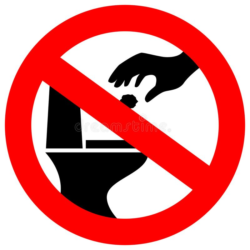 Inget skräpa ner i toalettvektortecken stock illustrationer