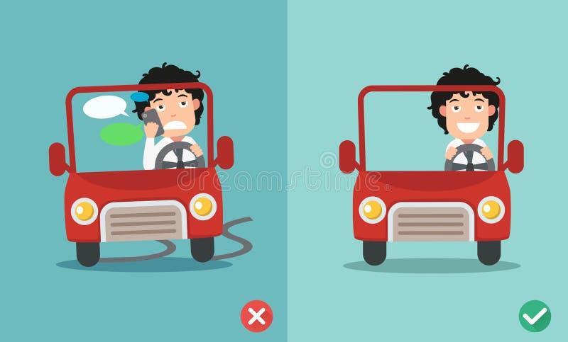Inget smsa, ingen samtal, r?tt och fel v?gar som rider f?r att f?rhindra bilkraschar stock illustrationer