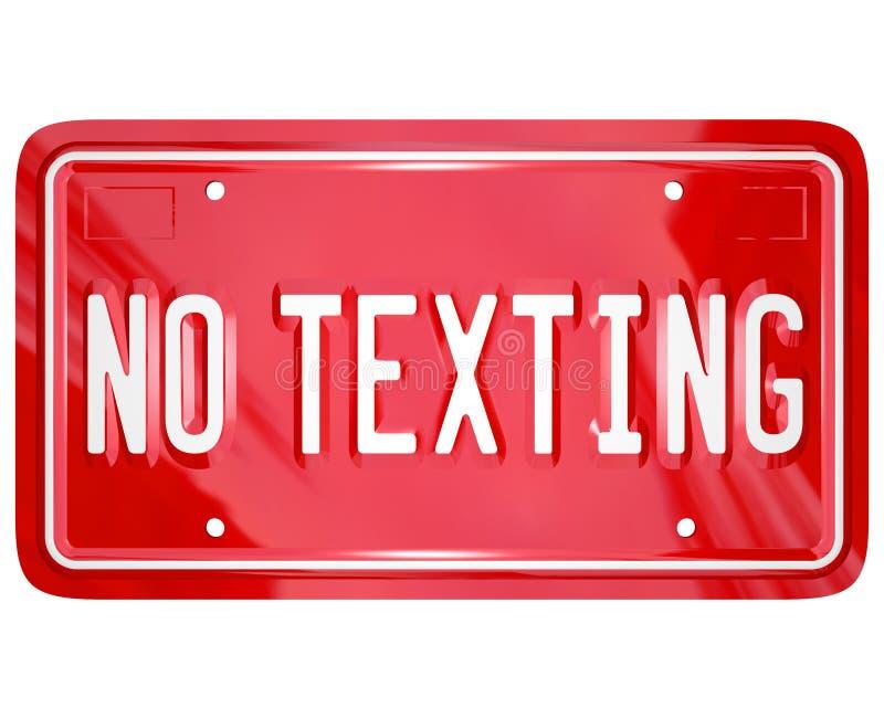 Inget smsande meddelande för text för registreringsskyltvarningsfara vektor illustrationer