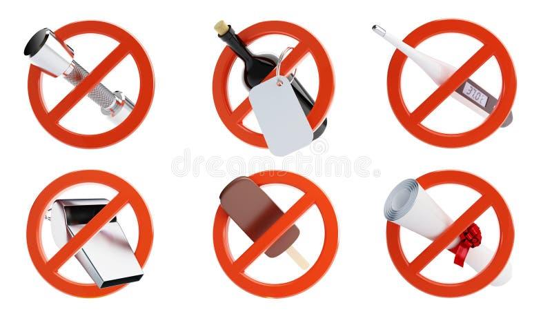 Inget tecken för olik förbjuden aktivitetsuppsättning vektor illustrationer