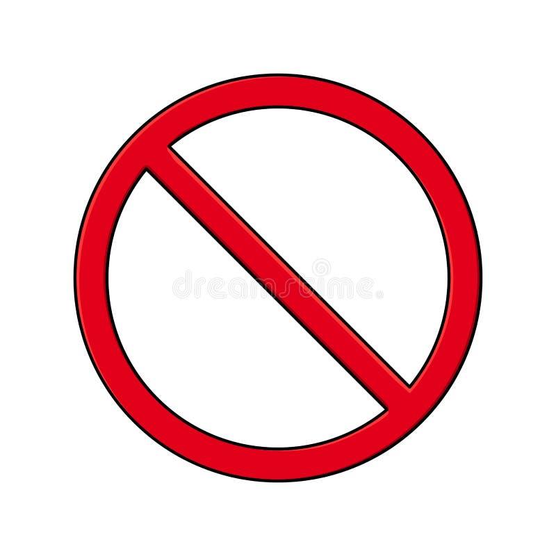 Inget tecken, förbudsymboldesign som isoleras på vit bakgrund stock illustrationer