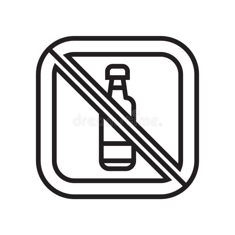 Inget tecken och symbol för drinksymbolsvektor som isoleras på vit bakgrund, inget drinklogobegrepp vektor illustrationer