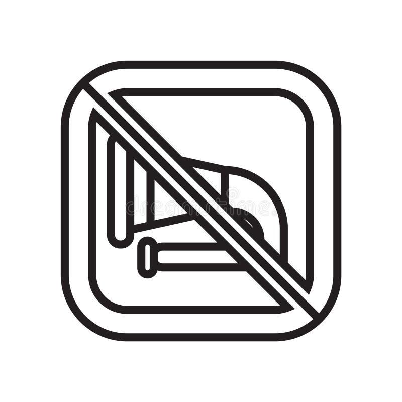 Inget tecken och symbol för musiksymbolsvektor som isoleras på vit bakgrund, inget musiklogobegrepp stock illustrationer