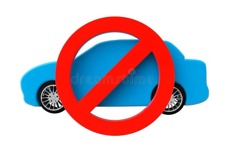 Inget tillåtet begrepp för bilar. Bil med inte tillåtet symbol royaltyfri illustrationer