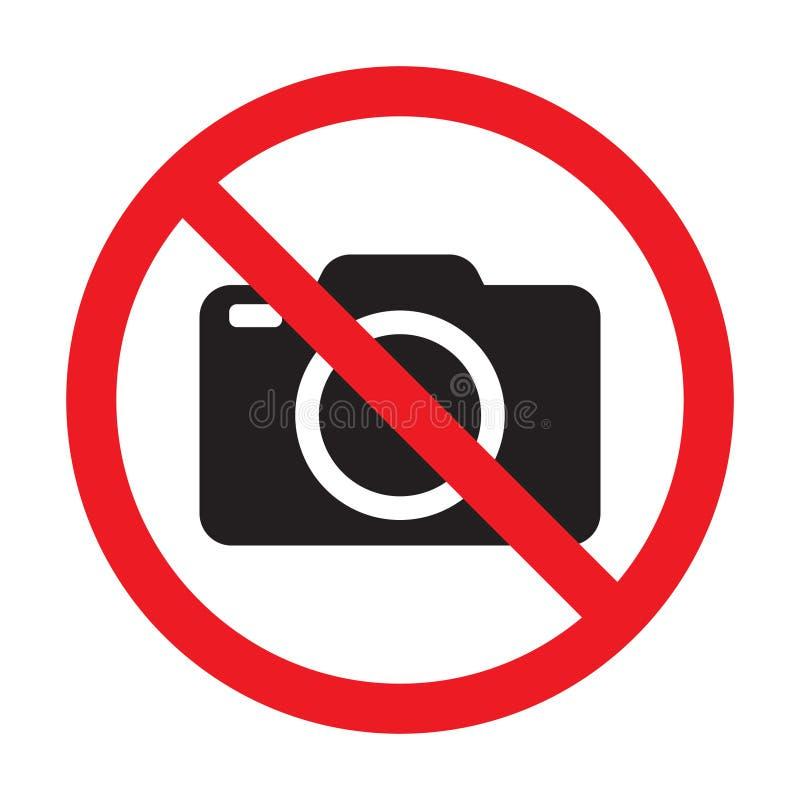 Inget tillåtet tecken för kameror Rött förbud inget kameratecken Inga tagande bilder, inget fotografitecken royaltyfri illustrationer