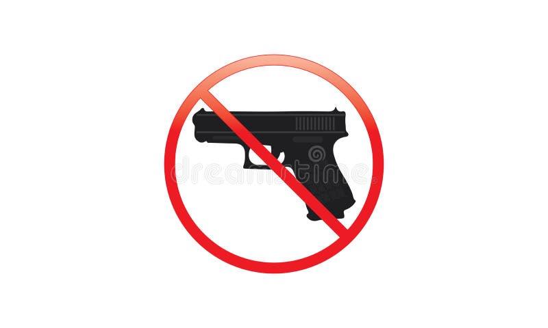Inget tillåtet tecken för vapen - inga vapen tillåtna röda Logo Sign - royaltyfri illustrationer