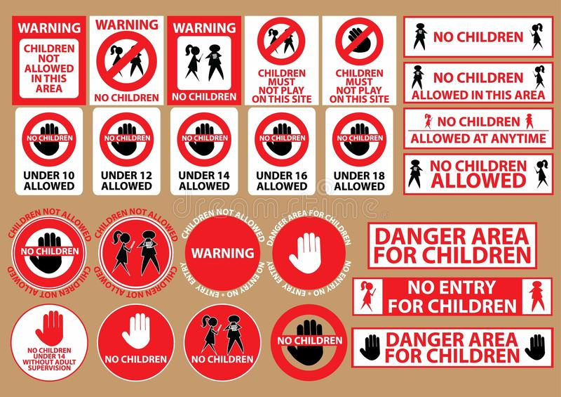 Inget tillåtet varningstecken för barn royaltyfri illustrationer