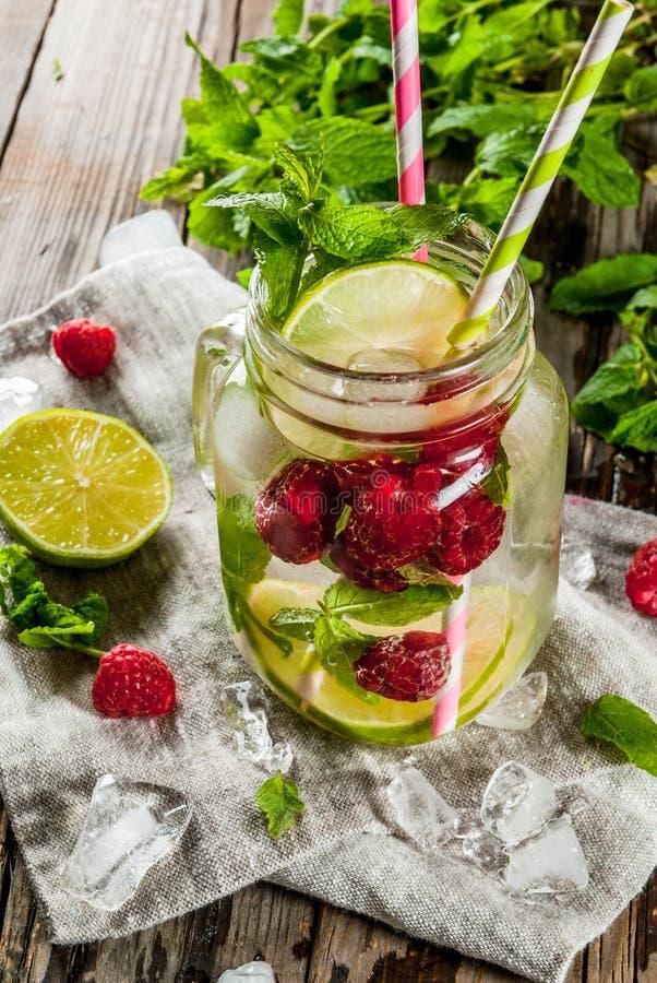 Ingett vatten med limefrukt, mintkaramell, hallon royaltyfri fotografi