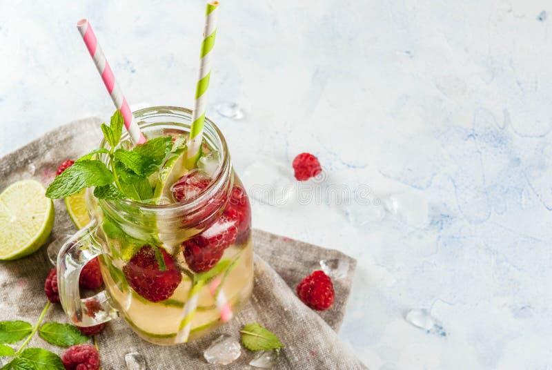 Ingett vatten med limefrukt, mintkaramell, hallon arkivfoton