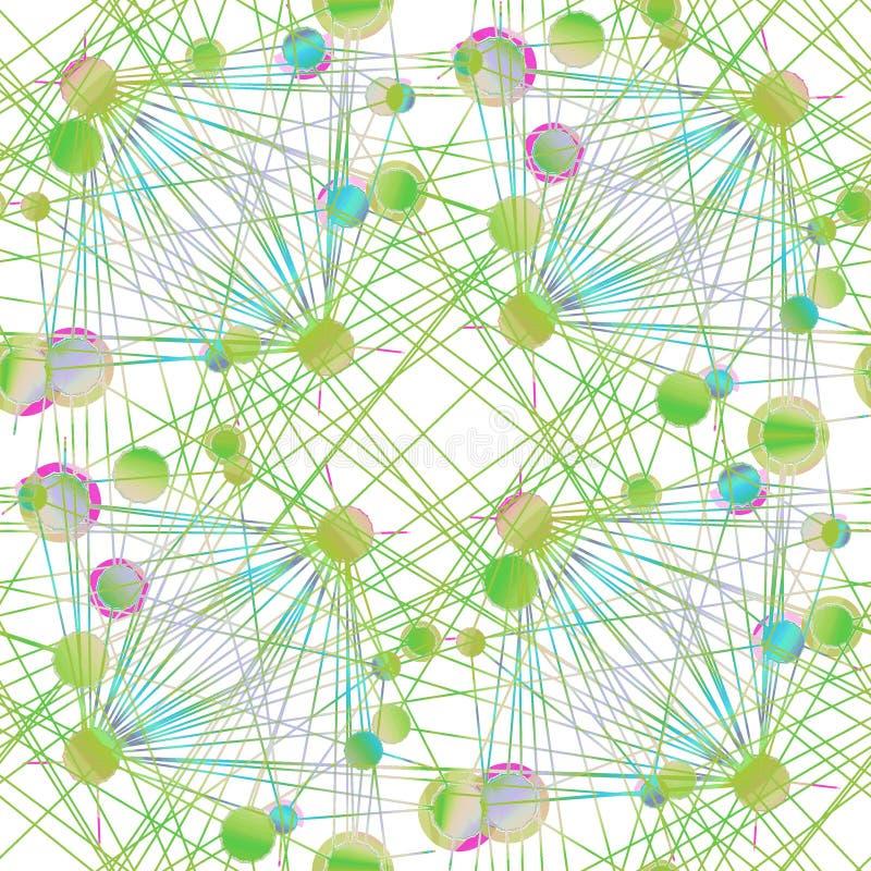 Ingewikkeld die cirkelspatroon lichtgroen en turkoois op wit aan lijnen het bedekken wordt verbonden royalty-vrije illustratie