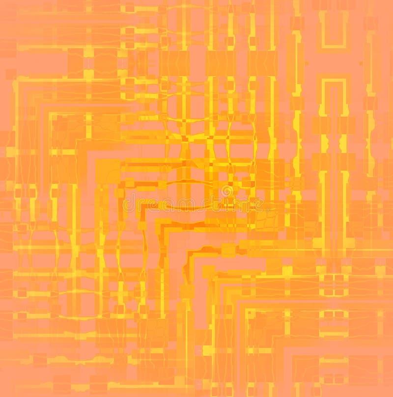 Ingewikkeld hoekig vaag patroon geeloranje roze royalty-vrije illustratie