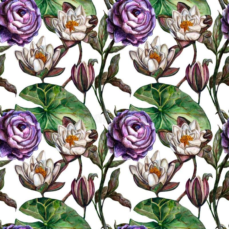 Ingewikkeld naadloos waterverf botanisch patroon met witte moeraslelies en violette pioenen vector illustratie