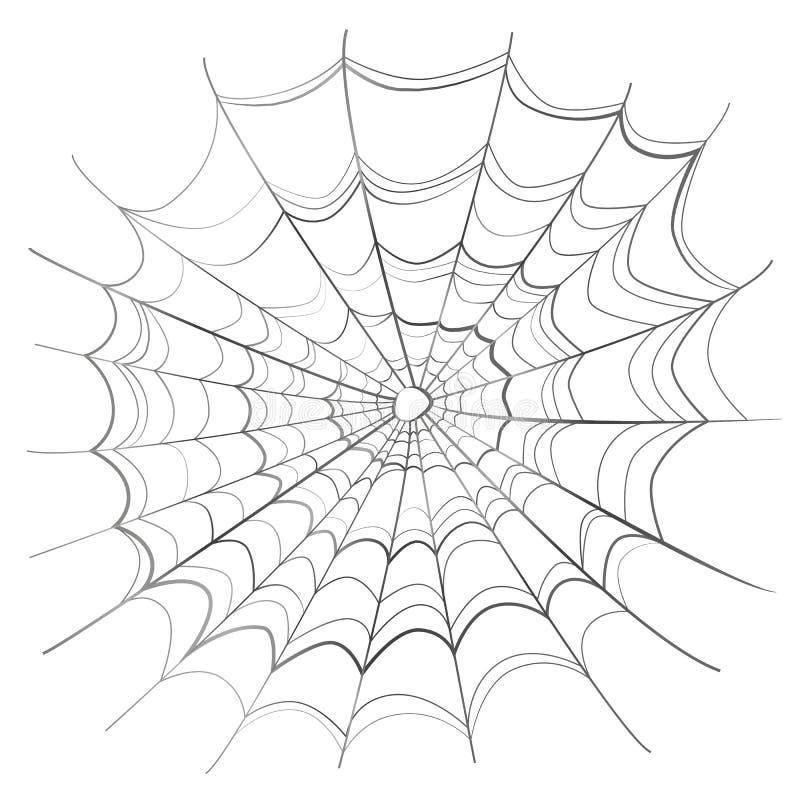 Ingewikkeld spinneweb op wit stock illustratie