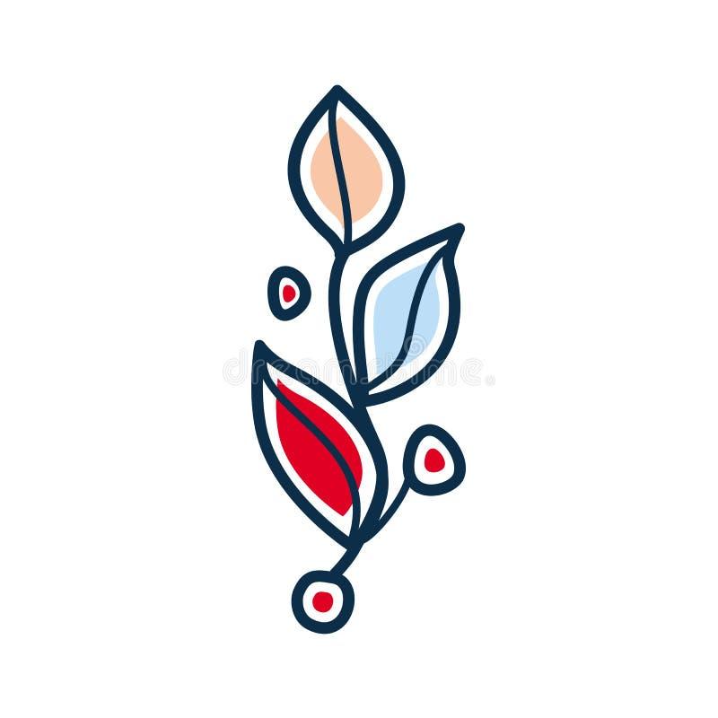 Ingewikkeld takje met rode en blauwe bladeren royalty-vrije illustratie