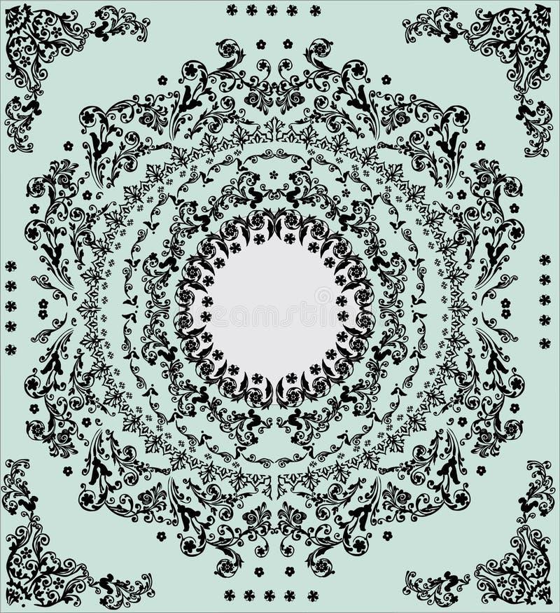 Ingewikkeld zwart rond frame op blauw royalty-vrije illustratie