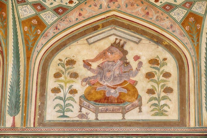 Ingewikkelde schilderijen op de Ganesh Pol-deur royalty-vrije stock afbeeldingen