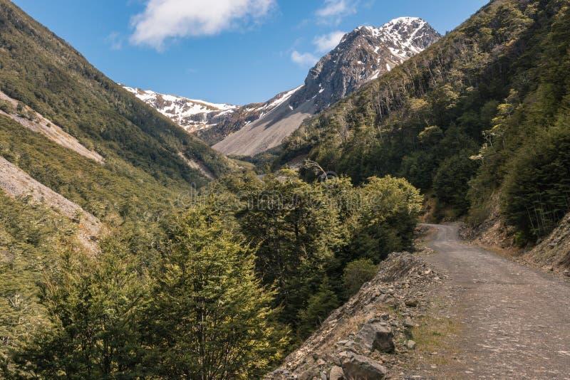 Inghiai la strada che conduce al giacimento dello sci dell'arcobaleno, l'isola del sud, Nuova Zelanda fotografia stock libera da diritti