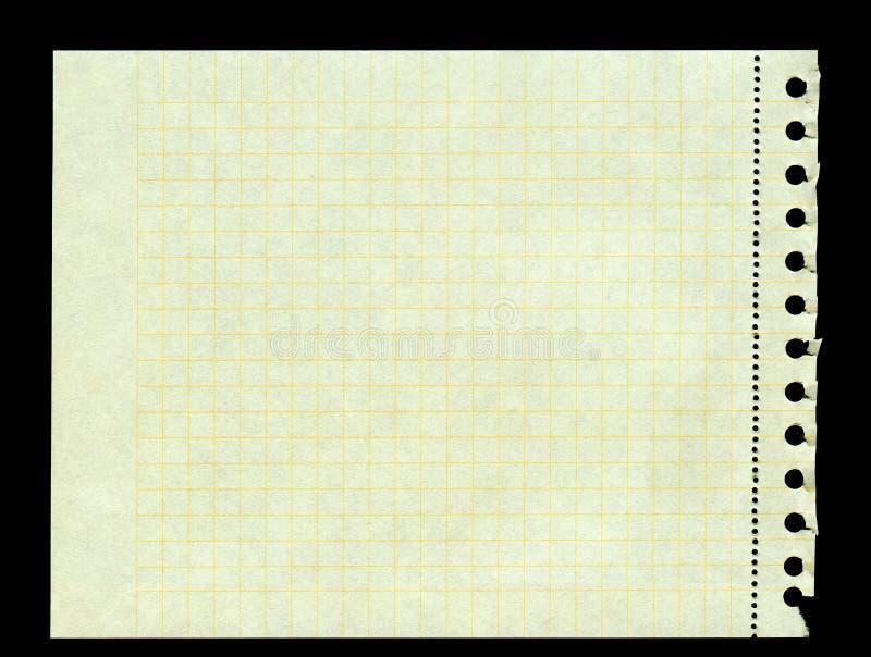 Ingiallisca il documento quadrato violento da un raccoglitore di anello immagini stock