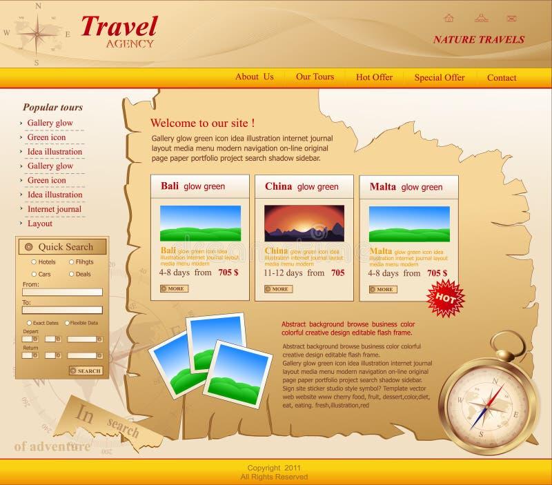 Ingiallisca il Web site di vettore per l'agenzia di viaggi illustrazione di stock