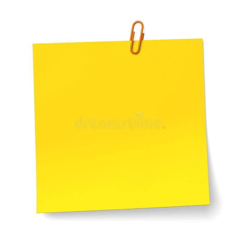 Ingiallisca la nota con la clip di carta arancione immagine stock libera da diritti