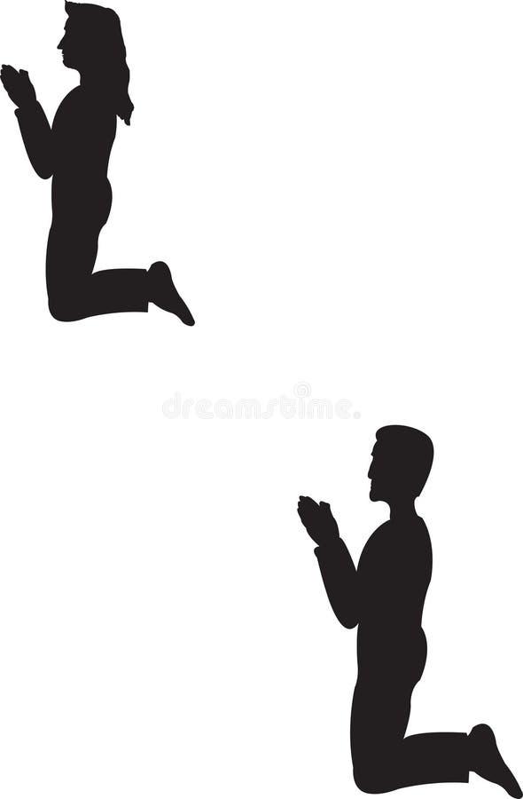 Inginocchiamento della donna e dell'uomo illustrazione di stock