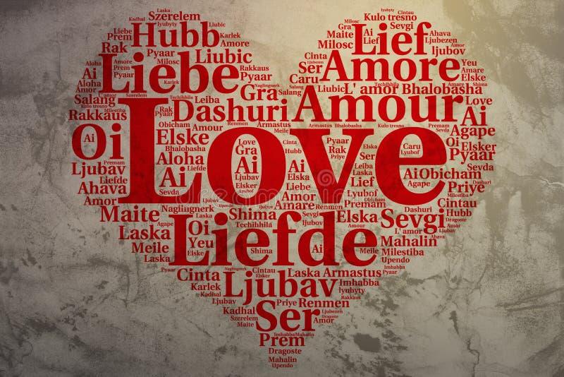 Inglés: Amor Amor en forma de corazón de la nube de la palabra, fondo del grunge stock de ilustración