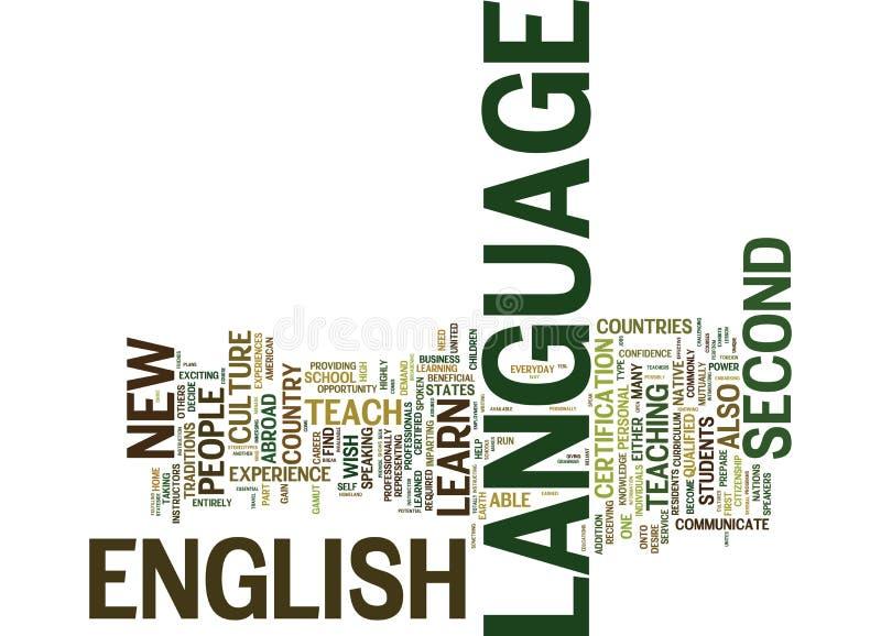 Inglés como concepto de la nube de la palabra del fondo del texto de la lengua de A segunda stock de ilustración