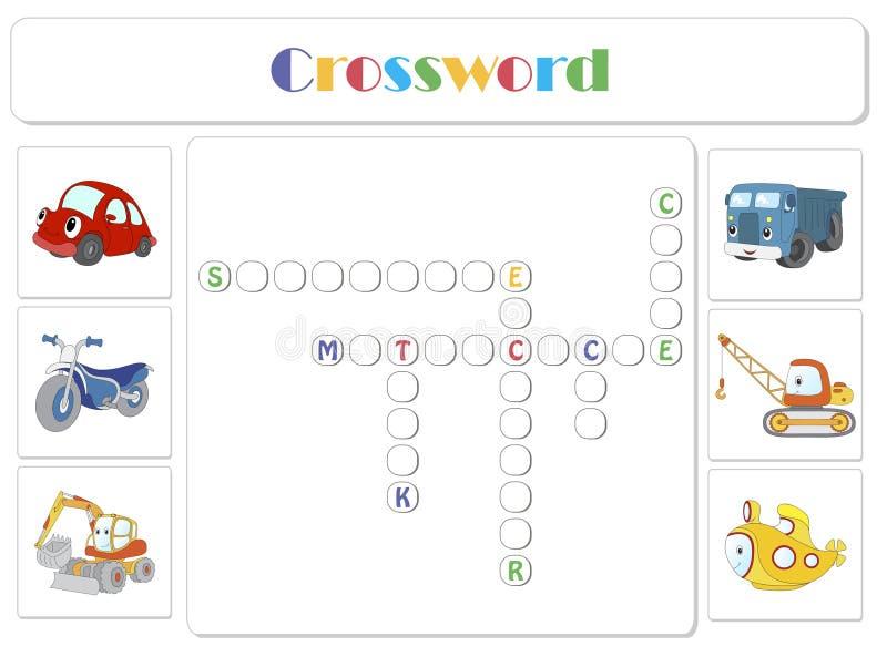 Inglés para los niños Crucigrama del transporte ilustración del vector
