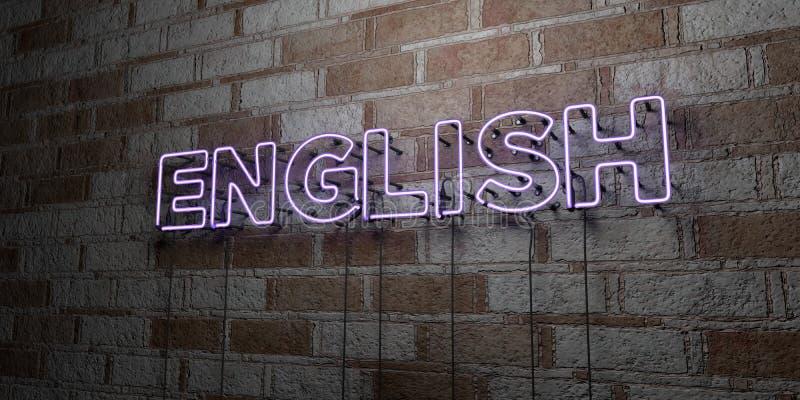 INGLÉS - Señal de neón que brilla intensamente en la pared de la cantería - 3D rindió el ejemplo común libre de los derechos libre illustration