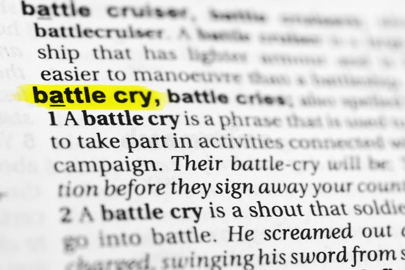 ` Inglês destacado do grito de batalha do ` da palavra e sua definição no dicionário imagem de stock royalty free