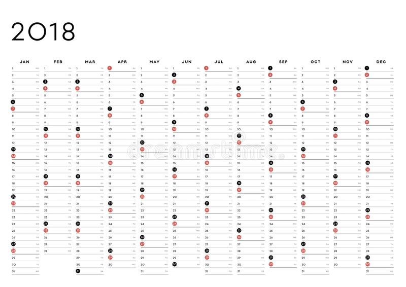 Inglês do planejador 2018 do ano imagens de stock