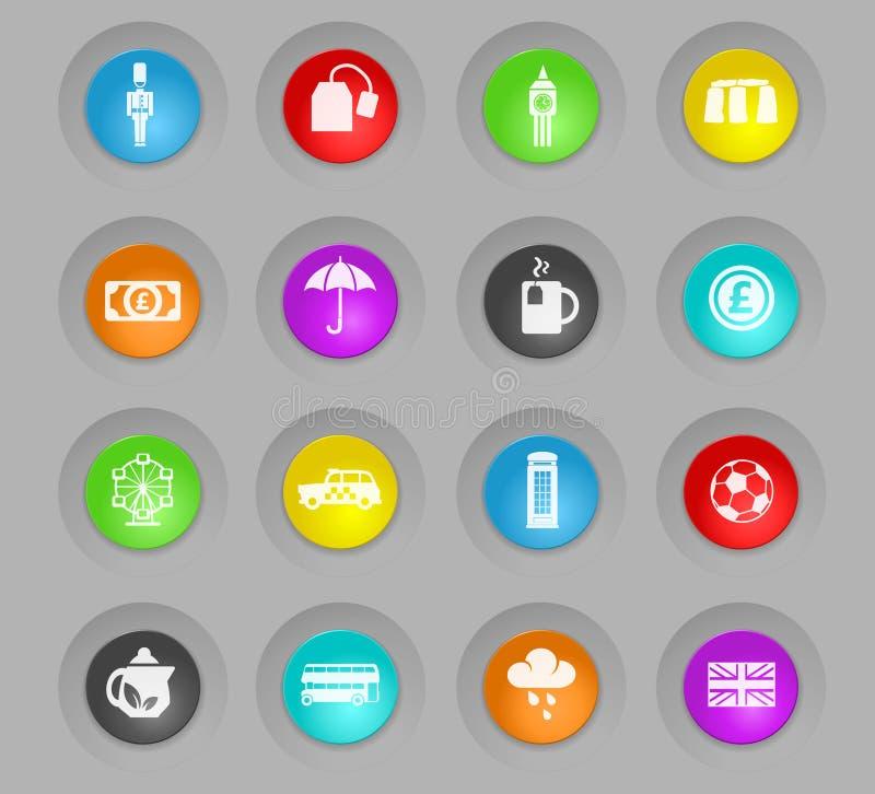 Inglaterra coloreó el sistema plástico del icono de los botones de la ronda libre illustration