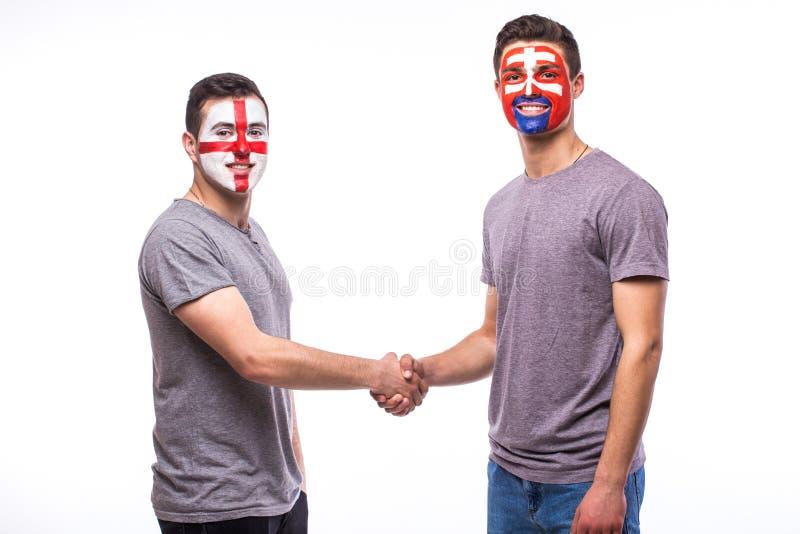 Inglaterra contra juego del igual del apretón de manos de Eslovaquia en el fondo blanco imagenes de archivo