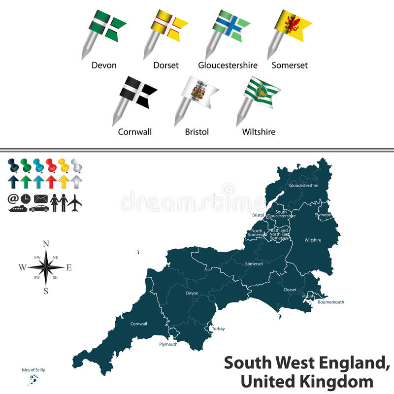 Inglaterra del oeste del sur, Reino Unido stock de ilustración