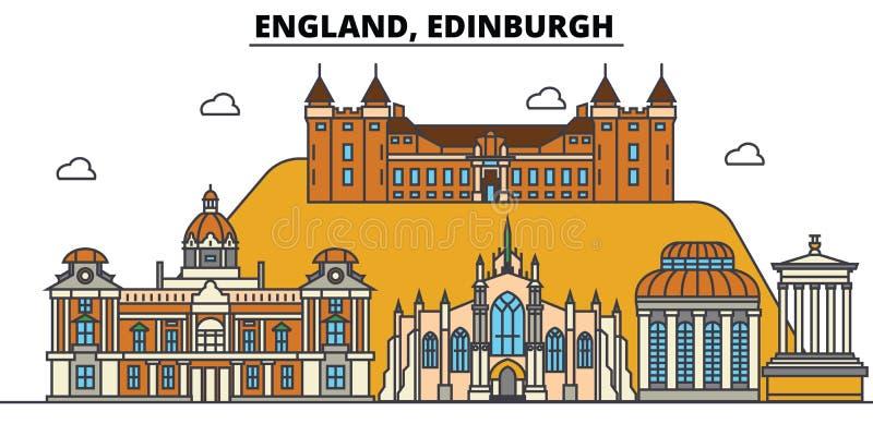 Inglaterra, Edimburgo Arquitetura da skyline da cidade editável ilustração royalty free