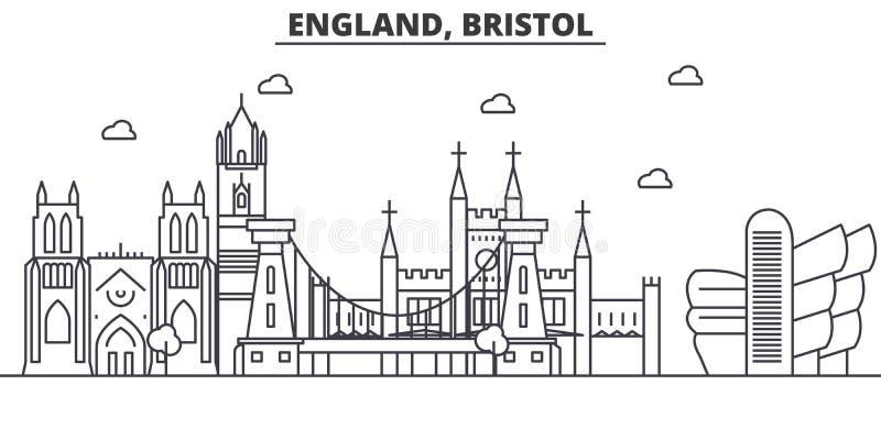 Inglaterra, línea ejemplo de la arquitectura de Bristol del horizonte Paisaje urbano linear con las señales famosas, vistas del v ilustración del vector