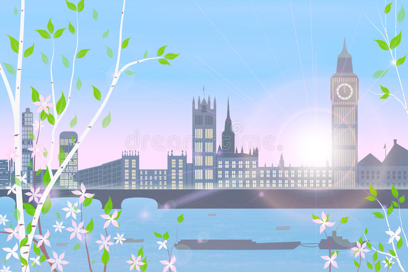 Inglaterra, Londres, primavera ilustración del vector