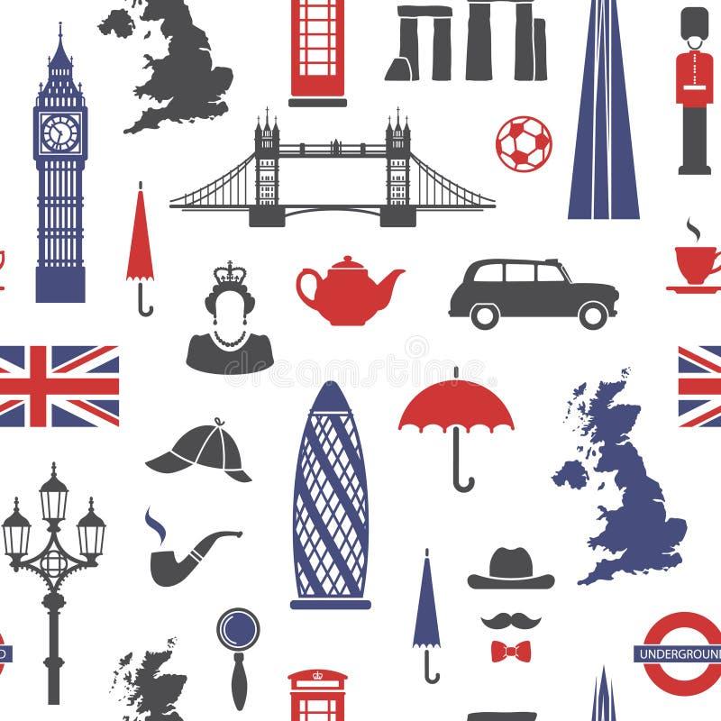 Inglaterra, Londres, Reino Unido Fondo inconsútil stock de ilustración