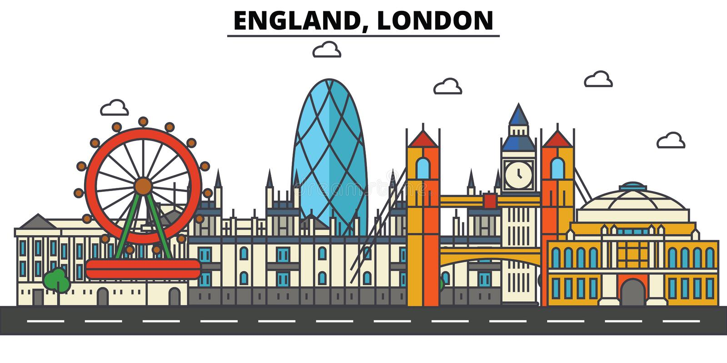Inglaterra, Londres? Uma da parede do castelo de Windsor Arquitetura da skyline da cidade editable ilustração do vetor