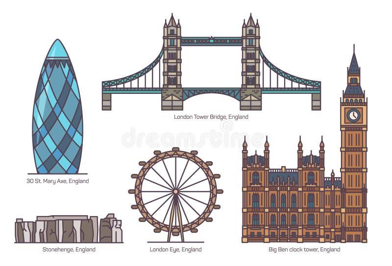 Inglaterra o Reino Unido, sistema inglés de las señales de la arquitectura libre illustration
