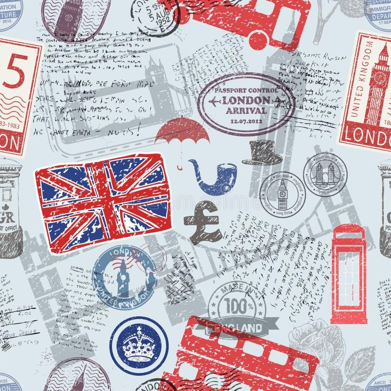 Inglaterra/símbolos BRITÂNICOS ilustração royalty free