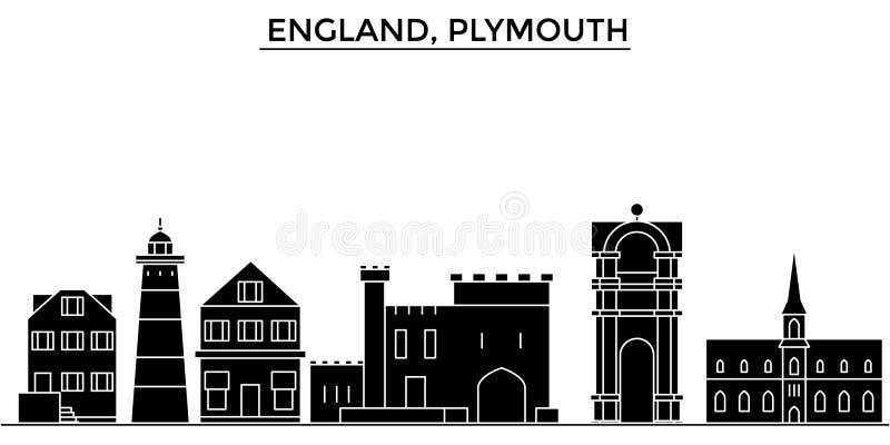 Inglaterra, skyline da cidade do vetor da arquitetura de Plymouth, arquitetura da cidade do curso com marcos, construções, isolou ilustração do vetor
