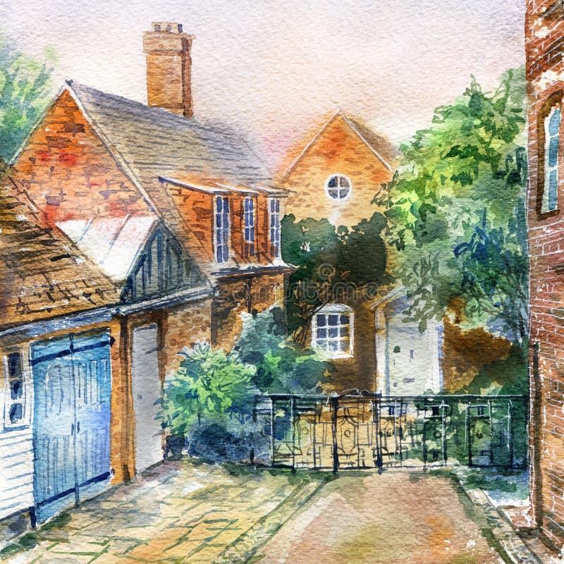 Inglaterra velha Rua e paisagem rústica das casas ilustração stock