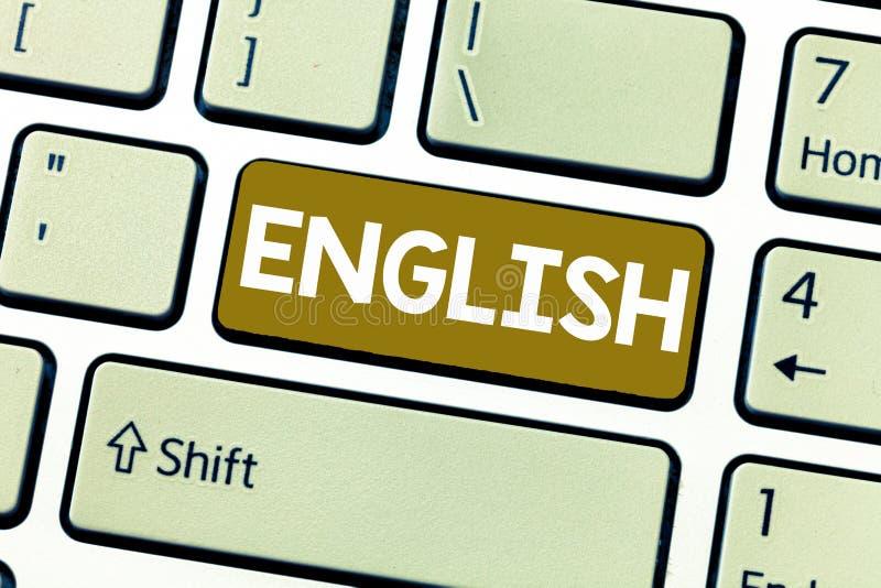 Inglese del testo di scrittura di parola Concetto di affari per relativo in Inghilterra che mostra a cultura di lingua la classe  immagine stock libera da diritti