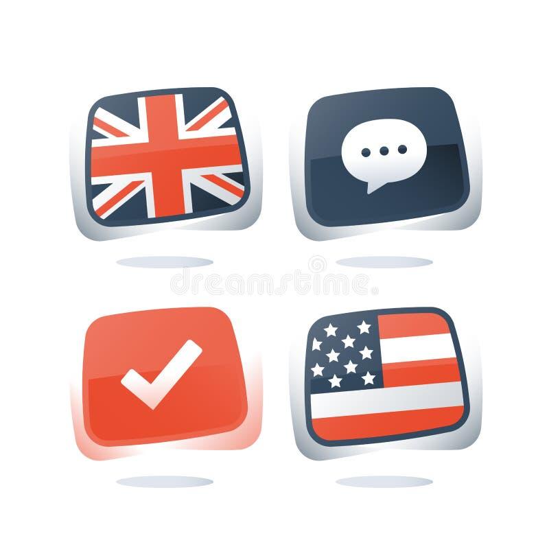 Ingleses e bandeiras dos EUA, língua inglesa e americana, programa aprendendo, em linha lingüístico da preparação do curso, do ex ilustração royalty free