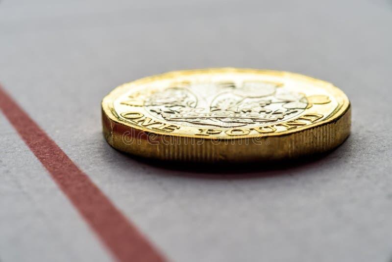 Ingleses novos uma libra Sterling Coin Chart Rate foto de stock royalty free