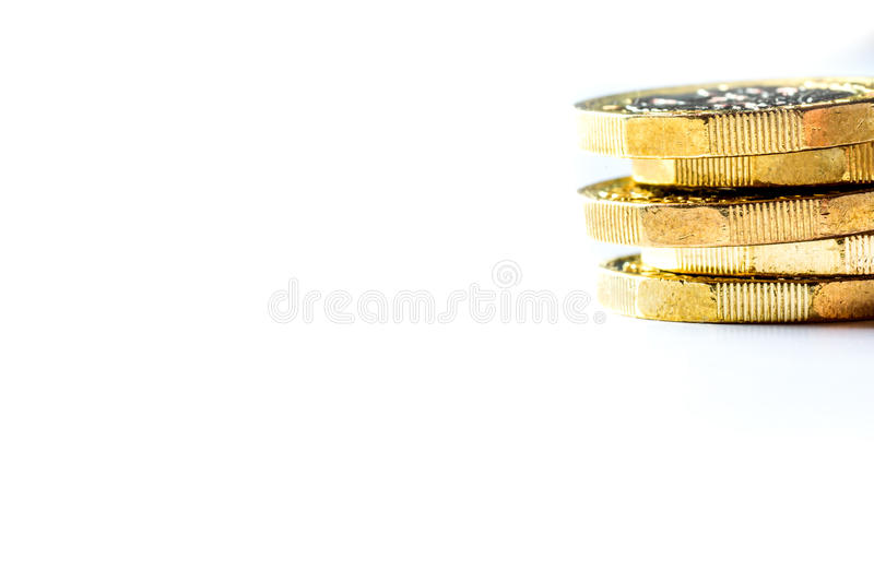 Ingleses novos uma libra Sterling Coin Chart Rate fotografia de stock