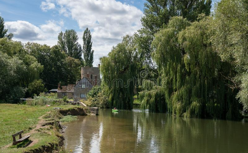 Inglesham Roundhouse and entrance to Thames & Severn Canal from the River Thames. Wiltshire, United Kingdom royalty free stock photography